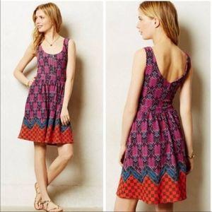 Anthropology Maeve Zip Front Scoop Back Dress